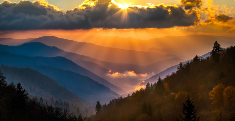 The Smoky Mountains at twilight