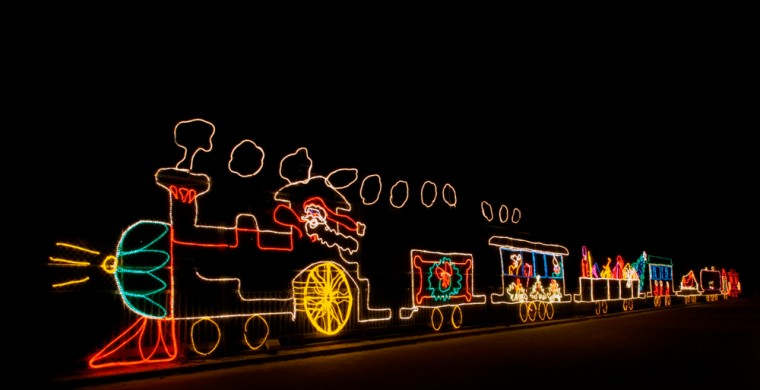 Christmas lights depicting a steam train