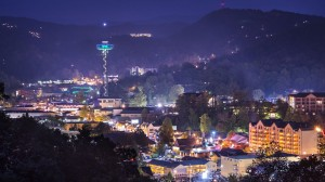 View of Gatlinburg town at night