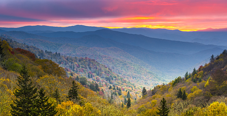 Smoky Mountain Landscape at Sunrise